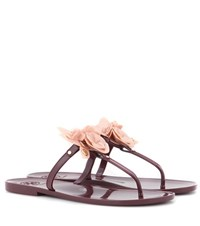 Tory Burch Blossom Jelly Embellished Sandals Red