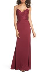Hayley Paige Occasions Lace And Crepe Trumpet Gown Burgundy
