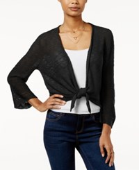 Hooked Up By Iot It's Our Time Juniors' Pointelle Back Tie Front Cardigan Black