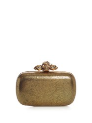 Alexander Mcqueen Piercing Skull Leather Box Clutch Gold