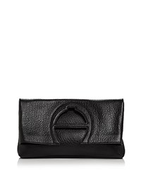 Etienne Aigner Bombe A Leather Clutch Black