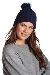 Melrose And Market Cable Knit Faux Fur Pompom Cuff Beanie Multi