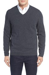 John W. Nordstromr Men's Big And Tall Nordstrom Cashmere V Neck Sweater Grey Ebony