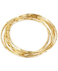 Touch Of Silver Thin Bangle Bracelet Set In 14K Gold Over Metal Yellow Gold