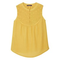 Mango Violeta By Sleeveless Embroidered Top Bright Yellow