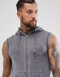 Blend Of America Wash Out Sleeveless Hoodie Grey