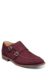 Stacy Adams Balen Moc Toe Double Strap Monk Shoe Oxblood Suede