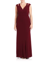 Abs Plus Size Cutout Shoulder Empire Gown Marsala