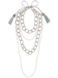 Night Market Faux Pearl And Bead Layered Necklace Brass Stone White