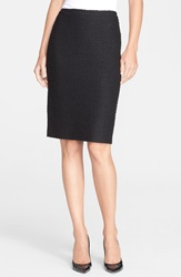 St. John Sparkle Tweed Knit Pencil Skirt Caviar