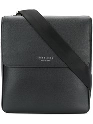 Hugo Boss Flap Messenger Bag Calf Leather Black