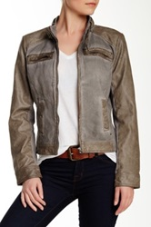 Blanc Noir Canvas Sleeve Faux Leather Motor Jacket Gray