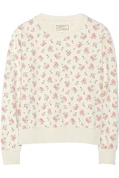 Current Elliott The Shrunken Jogger Floral Print Cotton Sweatshirt Nude