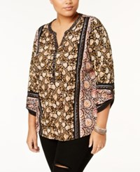 Style And Co Plus Size Cotton Mixed Print Peasant Top Created For Macy's Deep Black