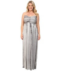 Culture Phit Plus Size Liliana Maxi Dress Grey Tie Dye Women's Dress Gray