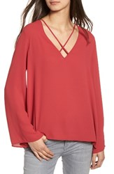 Lush Women's Cross Front Blouse Deep Claret