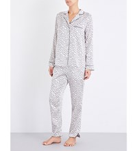 Yolke Leopard Stretch Silk Pyjama Set Macaroon