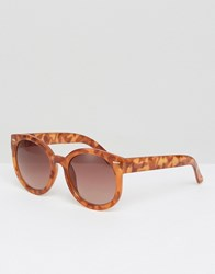 Monki Oversized Round Sunglasses Tortoise Brown