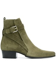 Balmain Buckled Ankle Boots Green