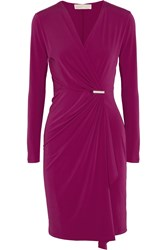 Michael Michael Kors Wrap Effect Stretch Jersey Dress Purple