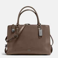 Coach Brooklyn Carryall 34 In Pebble Leather Dk Fatigue