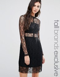 Fashion Union Tall All Over Lace Long Sleeve Skater Dress Black