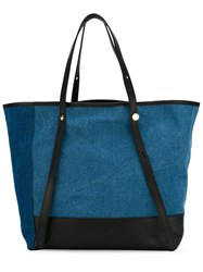 See By Chloa Trapeze Denim Shopper Tote Blue