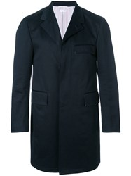 Thom Browne Cotton Twill Classic Unconstructed Chesterfield Overcoat Blue