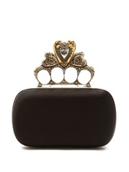 Alexander Mcqueen Crystal Embellished Heart Satin Knuckle Clutch Black