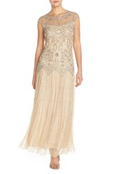 Women's Pisarro Nights Beaded Illusion Yoke Mesh Dress