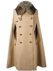 Burberry Fur Collar Double Breasted Cape Nude And Neutrals