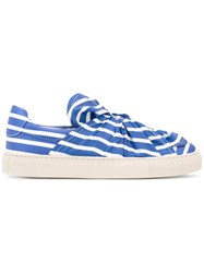 Ports 1961 Striped Sneakers Women Cotton Leather Rubber 36 Blue