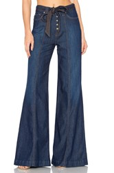 7 For All Mankind Wide Leg Lounge Pant Luxe Lounge Deep Blue