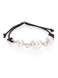 Majorica 12Mm White Pearl Sterling Silver And Leather Cord Bracelet Black White