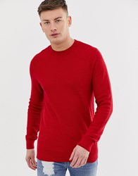 New Look Honeycomb Knit Jumper In Red