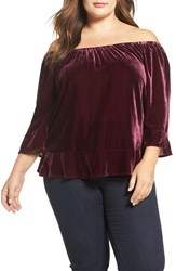 Democracy Plus Size Women's Velvet Off The Shoulder Flounce Hem Top Zinfandel