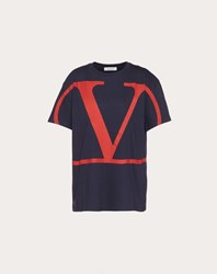 Valentino Vlogo T Shirt Dark Blue Cotton 100