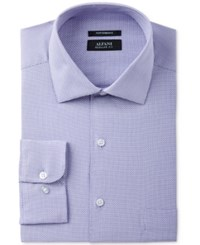 Alfani Men's Classic Regular Fit Performance Stretch Easy Care Lavender Step Twill Dress Shirt Only At Macy's