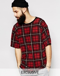 Reclaimed Vintage Oversized Checked T Shirt Red