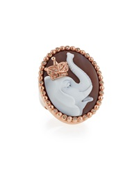 Amedeo Royal Sardonyx Elephant Ring With Brown Diamonds