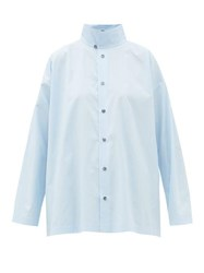 Eskandar Double Collar Cotton Poplin Shirt Light Blue
