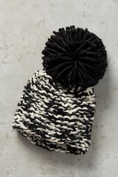 Anthropologie Chatham Pom Beanie Black And White