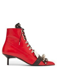Marques'almeida Spike Embellished Lace Up Kitten Heel Boots Black Red