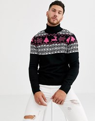 Native Youth Christmas Fairisle Roll Neck In Black With Neon Pink Pattern