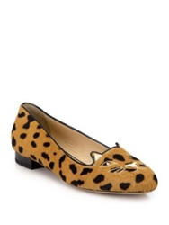 Charlotte Olympia Leopard Print Calf Hair Kitty Flats