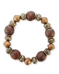 Akola Mixed Media Stretch Bracelet With Pyrite Brown Green