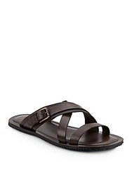 Saks Fifth Avenue Made In Italy Perforated Leather Strappy Slides Brown