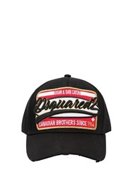 Dsquared Embroidered Patch Cotton Canvas Hat Black