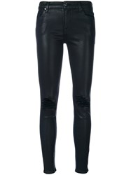 7 For All Mankind The Ankle Skinny Distressed Trousers Cotton Polyester Spandex Elastane Modal Blue