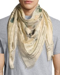 Alexander Mcqueen Letters From India Square Scarf Light Brown